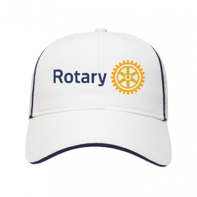 White/Navy Cap with 3D Embroidered Emblem