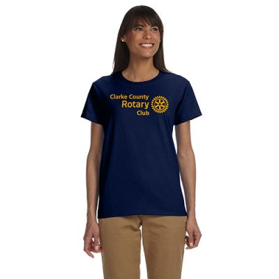 Custom Ladies Navy Rotarian at Work T-Shirt
