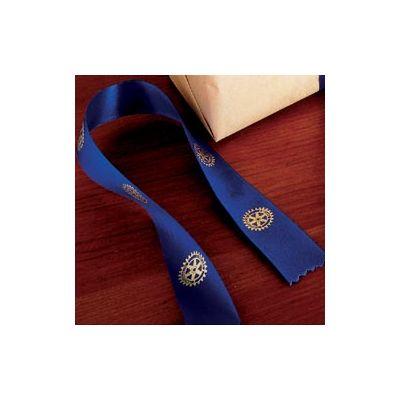 Royal Blue Satin Ribbon w/Metallic Gold Emblems