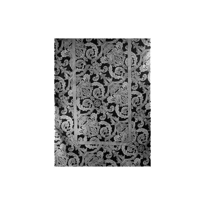 Black & Silver Brocade Silk Scarf