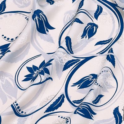 Blue & White on Rotary Jacquard Silk Scarf