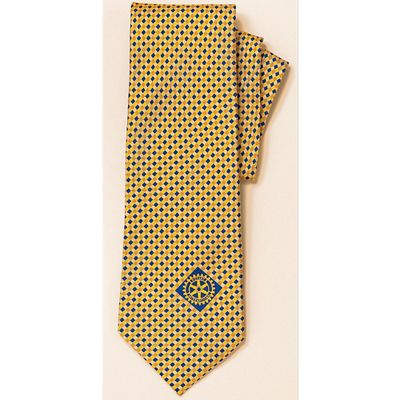 Gold/Navy Small Print Necktie