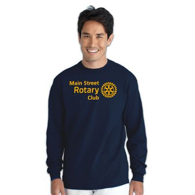 Custom Navy Long-Sleeve Rotarian At Work T-Shirt