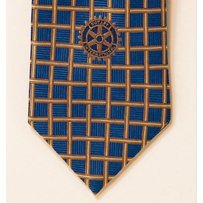 Blue/Gold Box Pattern, Woven Silk Tie