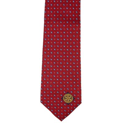 Red with Navy & White Dots Woven Silk Tie