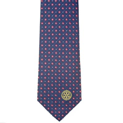 Navy with Red & White Dots Woven Silk Tie