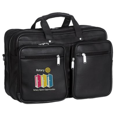 Black Leatherette Laptop Bag w/ 2020-21 Theme Embroidery