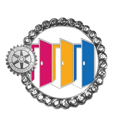 2020-21 Full Color Magnetic Lapel Pin with Rhinestones
