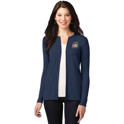 Navy Blue Cardigan Button-up w/Tone-on-Tone Buttons and 2020-21 Theme Embroidery