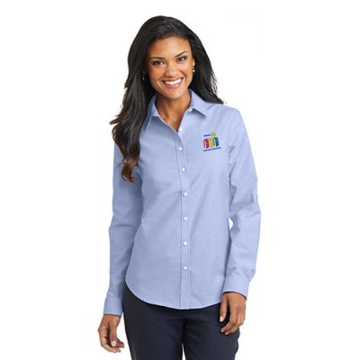 Ladies' Oxford Blue Super Pro Oxford Dress Shirt with 2020 Theme Embroidery